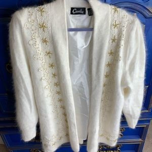 Vintage Cavalini Angora Beaded Sweater Top MED